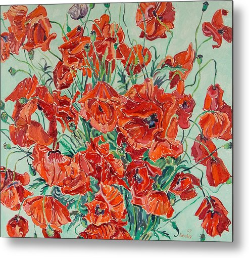 Bouquet Metal Print featuring the painting Bouquet Of Red Poppies With Soft-blue Background by Vitali Komarov