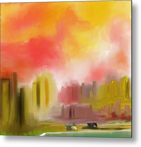 Digital Painting Metal Print featuring the digital art Cityscape by David Lane