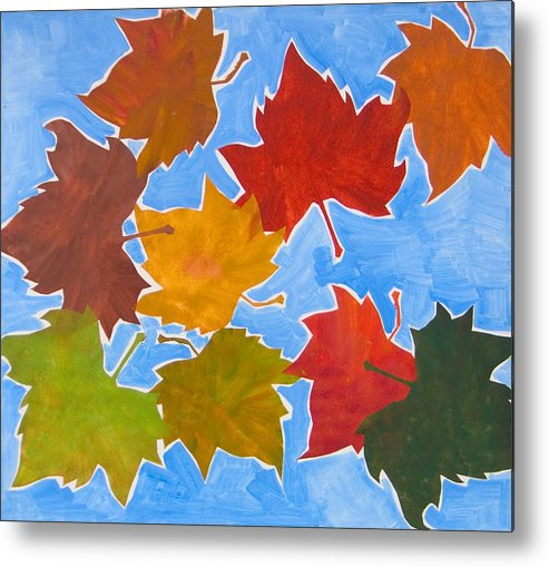 Leaf Metal Print featuring the painting Colorful Leaves by Vitali Komarov