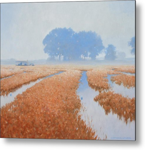 Farming Metal Print featuring the painting Crawfish In The Mist by Kevin Lawrence Leveque