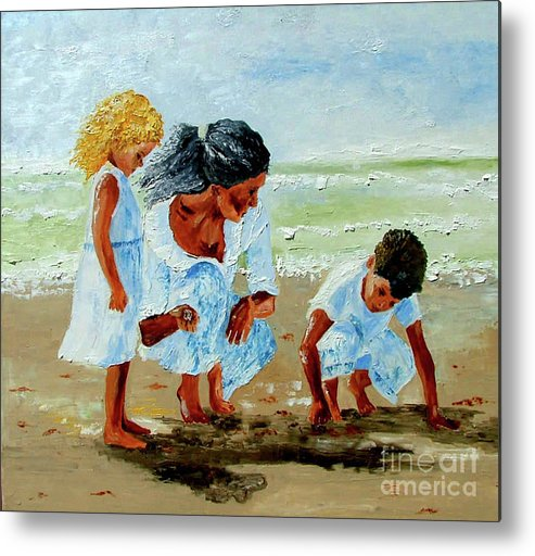 Family Metal Print featuring the painting Family At The Beach by Inna Montano