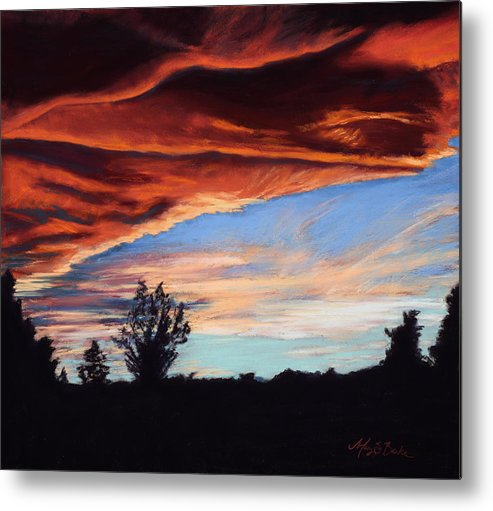 Sunset Metal Print featuring the painting Fire In The Sky by Mary Benke