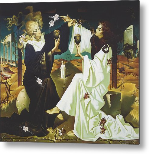 Figures Metal Print featuring the painting Good And Evil by Andrej Vystropov