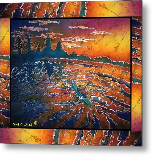 Kayak Metal Print featuring the painting Kayaking Serenity - Bordered by Sue Duda