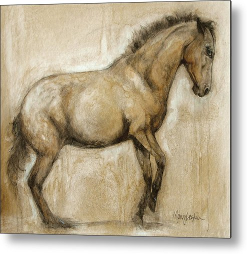 Horse Art Metal Print featuring the painting Lock And Load by Mary Leslie