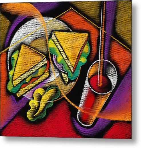 Bowl Close Up Color Image Concept Convenience Dinner Food And Drink Fork Grape Hamburger Illustration Illustration And Painting Lunch Macaroni Macaroni And Cheese Nobody Sandwich Square Image Still Life Variety Assortment Bread Close-up Color Colour Cutlery Drawing Food Fruit Ground Beef Meal Mince Pasta Square Still-life Abstract Painting Decorative Art Metal Print featuring the painting Lunch by Leon Zernitsky