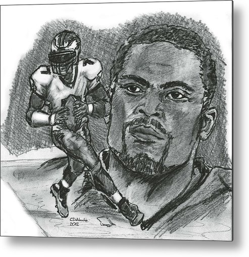 Nfl Metal Print featuring the drawing Michael Vick by Chris DelVecchio