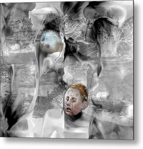 Photopainting Metal Print featuring the digital art Mourning by Helga Schmitt