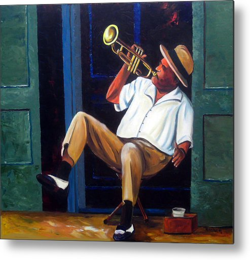 Cuba Art Metal Print featuring the painting My Trumpet by Jose Manuel Abraham