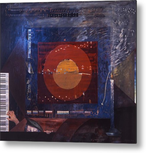 Music Metal Print featuring the painting Nocturne by Wilfried Senoner