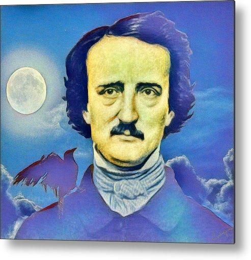 Edgar Allan Poe Metal Print featuring the digital art Poe by Enrique Meza Costeno