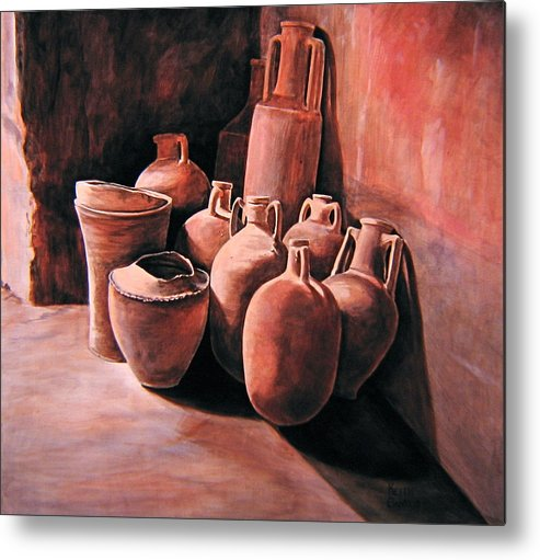 Pompeii Metal Print featuring the painting Pompeii - Jars by Keith Gantos