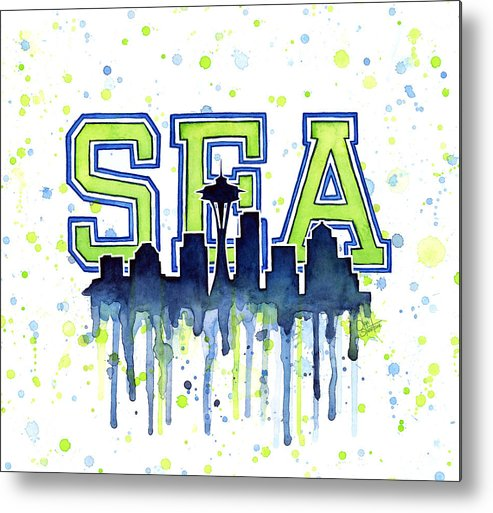 Watercolor Metal Print featuring the painting Seattle Watercolor 12th Man Art Painting Space Needle Go Seahawks by Olga Shvartsur