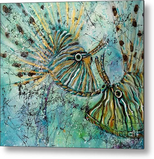Iionfish Metal Print featuring the painting Seeing Eye To Eye by Midge Pippel