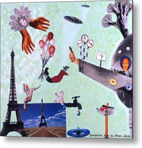 Eiffel Tower Metal Print featuring the drawing Soap Scene #27 Zelestial Headquarters by Minaz Jantz