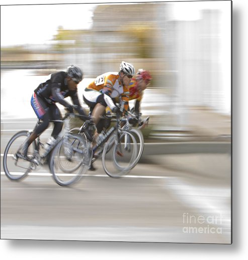 Cycle Metal Print featuring the photograph Speeding Into The Curve by Mark Hendrickson