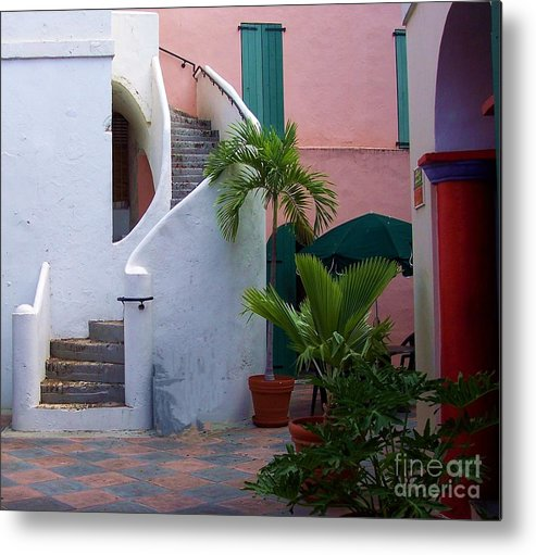 Architecture Metal Print featuring the photograph St. Thomas Courtyard by Debbi Granruth