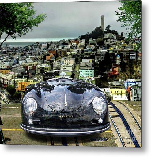 Steve Mcqueen Metal Print featuring the mixed media Steve Mcqueen's 58' Porsche 356 1600 Speedster, Telegraph Hill, San Francisco, Ca by Thomas Pollart