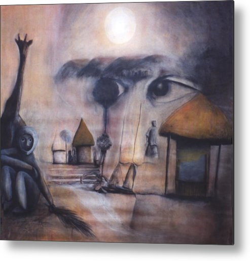 Africa Metal Print featuring the drawing Sunset In Afrika by Mushtaq Bhat