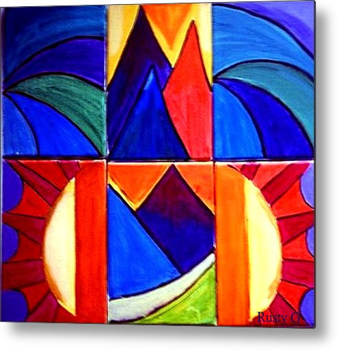 Abstract Sunset Metal Print featuring the painting Sunset On The Peaks by Rusty Woodward Gladdish