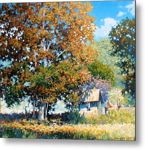 Landscape Metal Print featuring the painting Sycamores With Tallow by Kevin Lawrence Leveque
