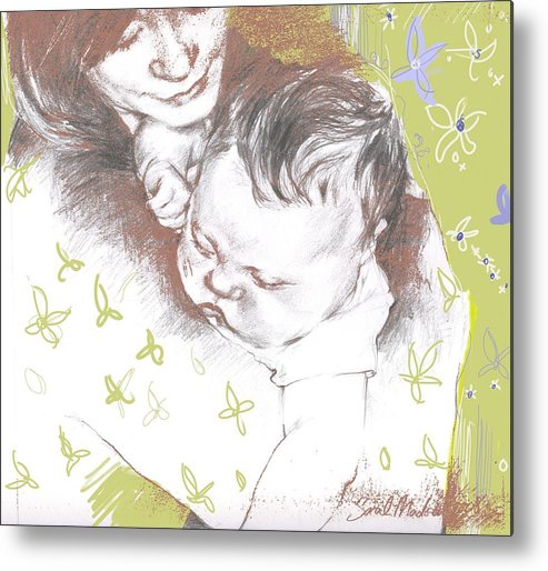 Portrait Metal Print featuring the painting Tenderness In Green by Sarah Madsen