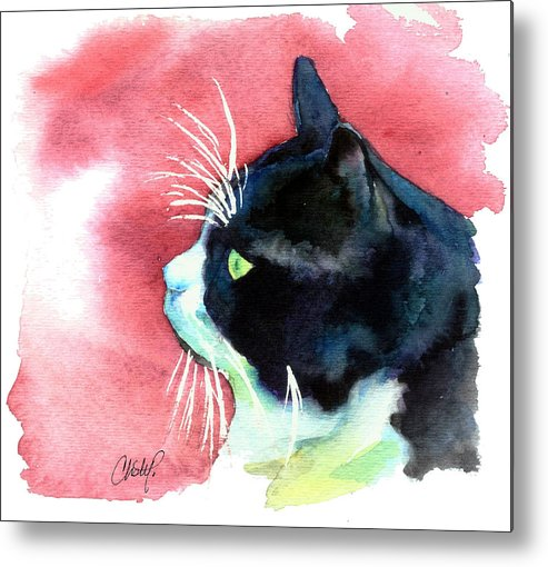 Cat Metal Print featuring the painting Tuxedo Cat Profile by Christy Freeman