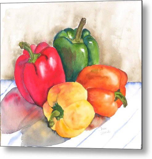 Food Metal Print featuring the painting Two Peppers by Diane Ziemski