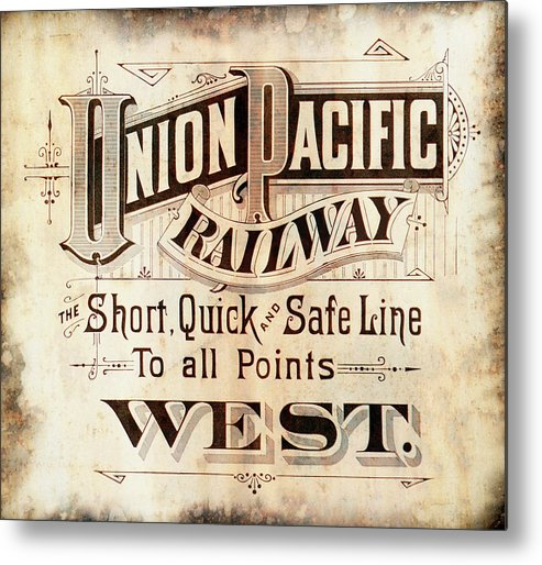 Union Pacific Metal Print featuring the mixed media Union Pacific Railroad - Gateway To The West 1883 by Daniel Hagerman