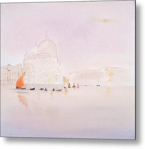 Venice Metal Print featuring the pastel Venice At Sunrise by Gordon Ogilvie