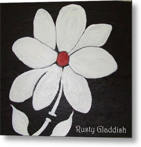 Contemporay Metal Print featuring the painting White Flower by Rusty Gladdish