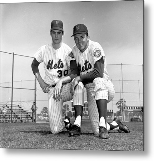 American League Baseball Metal Print featuring the photograph New York Mets Texas Battery Nolan Ryan by New York Daily News Archive