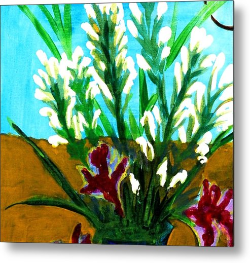 Flowers Metal Print featuring the painting My Flowers by Baljit Chadha