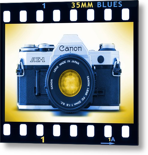 Vintage 35mm Metal Print featuring the photograph 35mm Blues Canon Ae-1 by Mike McGlothlen