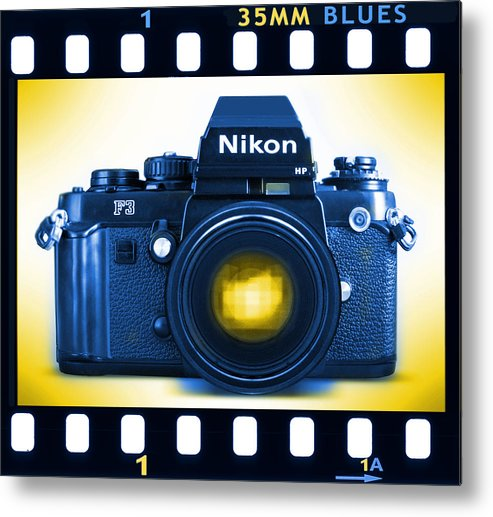 Pop Art Metal Print featuring the photograph 35mm Blues Nikon F-3hp by Mike McGlothlen