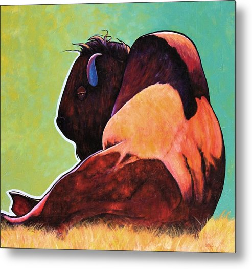 Wildlife Metal Print featuring the painting On Empty Bison by Joe Triano
