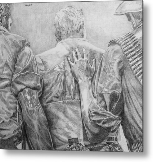 Three Soldiers Metal Print featuring the drawing Three Soldiers by Robert Tracy