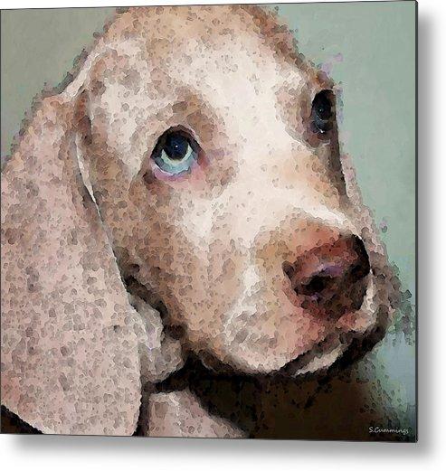 Weimaraner Metal Print featuring the painting Weimaraner Dog Art - Forgive Me by Sharon Cummings