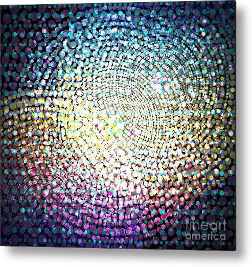 Abstract Metal Print featuring the digital art Dots Colors by Atiketta Sangasaeng