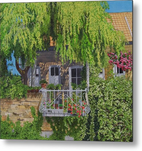 Rural Metal Print featuring the mixed media Balcony With Flowers by Constance Drescher