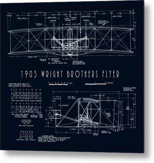 wright Bros Metal Print featuring the digital art Wright Bros Flyer Aeroplane Blueprint 1903 by Daniel Hagerman