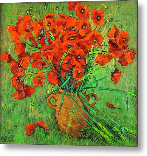 Blossoming Metal Print featuring the painting Blossoming Branch In A Glass by Vitali Komarov