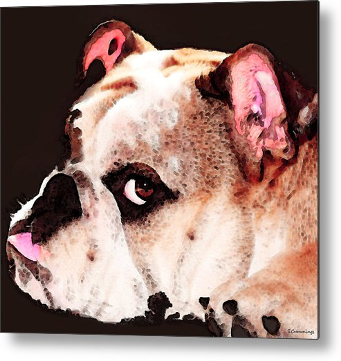 Dog Metal Print featuring the painting Bulldog Art - Let's Play by Sharon Cummings