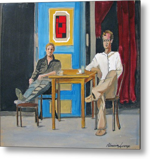 Portraits Metal Print featuring the painting Coffee In China Town by Patricia Arroyo