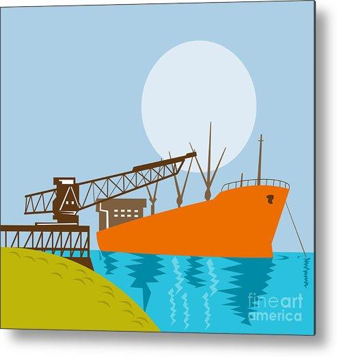 Illustration Metal Print featuring the digital art Crane Loading A Ship by Aloysius Patrimonio