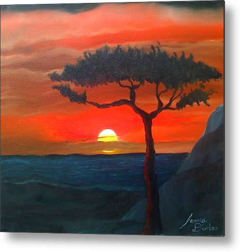 Africa! Metal Print featuring the painting East African Sunset by Portland Art Creations
