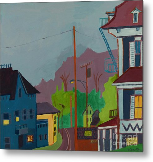 Town Metal Print featuring the painting Evening In Town Chelmsford Ma by Debra Bretton Robinson