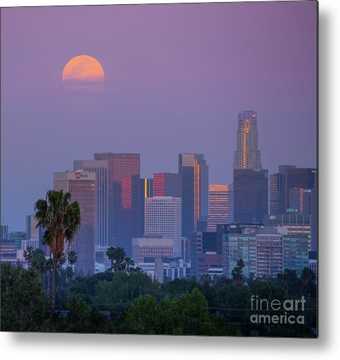 Los Metal Print featuring the photograph Full Moon Rising Over Downtown Los Angeles Skyline by Konstantin Sutyagin