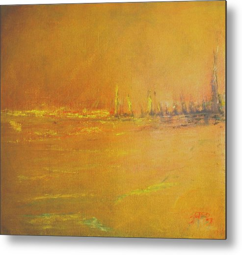 Ships Metal Print featuring the painting Golden Sky by Jack Diamond