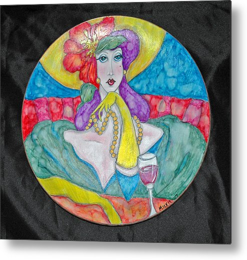 Brightly Painted Woman Waiting For Her Date Metal Print featuring the mixed media Lady In Waiting by Mickie Boothroyd